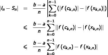 \begin{eqnarray*}\left|I_{n}-S_{n}\right| & = & \frac{b-a}{n}\left|\sum_{k=0}^{n-1}\left(\left|f\left(c_{k,n}\right)\right|-\left|f\left(x_{k,n}\right)\right|\right)\right|\\& \leqslant & \frac{b-a}{n}\sum_{k=0}^{n-1}\left|\left|f\left(c_{k,n}\right)\right|-\left|f\left(x_{k,n}\right)\right|\right|\\& \leqslant & \frac{b-a}{n}\sum_{k=0}^{n-1}\left|f\left(c_{k,n}\right)-f\left(x_{k,n}\right)\right| \end{eqnarray*}