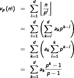 \begin{eqnarray*}v_{p}\left(n!\right) & = & \sum_{i=1}^{d}\left\lfloor \frac{n}{p^{i}}\right\rfloor \\ & = & \sum_{i=1}^{d}\left(\sum_{k=i}^{d}\,a_{k}p^{k-i}\right)\\ & = & \sum_{k=1}^{d}\left(a_{k}\sum_{i=1}^{k}p^{k-i}\right)\\ & = & \sum_{k=1}^{d}a_{k}\frac{p^{k}-1}{p-1}\end{eqnarray*}