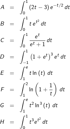 \begin{eqnarray*}A & = & {\displaystyle \int_{0}^{1}\left(2t-3\right)e^{-t/2}\thinspace dt}\\B & = & \int_{0}^{1}t\thinspace e^{t^{2}}\thinspace dt\\C & = & {\displaystyle \int_{0}^{1}\frac{e^{t}}{e^{t}+1}\thinspace dt}\\D & = & \int_{-1}^{1}\left(1+e^{t}\right)^{3}e^{t}\thinspace dt\\E & = & {\displaystyle \int_{1}^{e}t\ln\left(t\right)\thinspace dt}\\F & = & {\displaystyle \int_{1}^{2}\ln\left(1+\frac{1}{t}\right)\,dt}\\G & = & {\displaystyle \int_{1}^{e}t^{2}\ln^{3}\left(t\right)\,dt}\\H & = & {\displaystyle \int_{0}^{1}t^{3}e^{t^{2}}\thinspace dt}\end{eqnarray*}