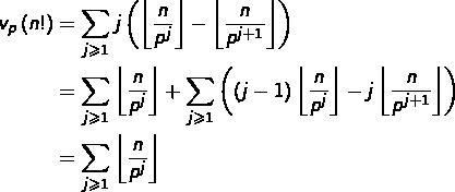 \begin{equation*}\begin{split}v_{p}\left(n!\right) & = \sum_{j\geqslant1}j\left(\left\lfloor \frac{n}{p^{j}}\right\rfloor -\left\lfloor \frac{n}{p^{j+1}}\right\rfloor \right)\\& = \sum_{j\geqslant1}\left\lfloor \frac{n}{p^{j}}\right\rfloor +\sum_{j\geqslant1}\left(\left(j-1\right)\left\lfloor \frac{n}{p^{j}}\right\rfloor -j\left\lfloor \frac{n}{p^{j+1}}\right\rfloor \right)\\& = \sum_{j\geqslant1}\left\lfloor \frac{n}{p^{j}}\right\rfloor\end{split}\end{equation*}