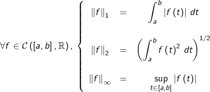 \[\forall f\in\mathcal{C}\left(\left[a,b\right],\mathbb{R}\right),\thinspace\left\{ \begin{array}{ccc} \left\Vert f\right\Vert_{1} & = & {\displaystyle \int_{a}^{b}\left f\left(t\right)\right \thinspace dt}\\\\\left\Vert f\right\Vert_{2} & = & {\displaystyle \left(\int_{a}^{b}f\left(t\right)^{2}\thinspace dt\right)^{1/2}}\\\\\left\Vert f\right\Vert_{\infty} & = & {\displaystyle \sup_{t\in\left[a,b\right]}\left f\left(t\right)\right }\end{array}\right.\]